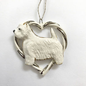 NEW White Terrier Hand Sculpted Ceramic Ornament
